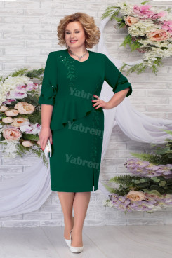 Green Chiffon Mid-Calf Mother of the Groom Dresses Plus Size Women's Dress mps-463-3