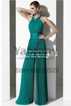 Green Draped women's Wedding party Jumpsuits so-066