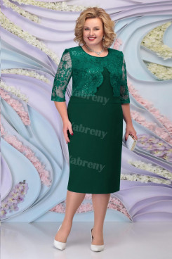 Green Lace Mother of the Groom Dresses Plus Size Half Sleeves Women's Dress mps-466-2