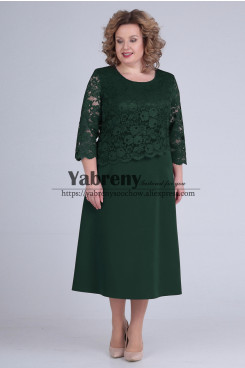 Green Lace Tea-Length Mother of the Bride Dress Plus Size Women Dresses mps-509-1