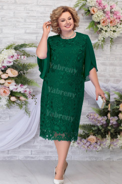 Green Tea-Length Mother of the Groom Dresses Plus Size Women's Dress mps-462-3