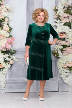 Green Velvet Mother of The Bride Dresses, Elegant Plus size Women's Dresses mps-475-2