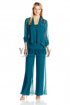 Greenblack Hunter Elegant Mother of the bride pant suits Chiffon Three piece outfit mps-048