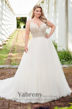Plus Size Spaghetti Tulle Wedding dress with hand bead wd-038
