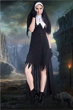 Halloween costumes horror bloody adult nun priest dress trapeze dress zombie costume free shipping
