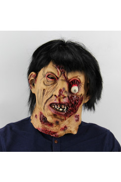 Halloween Masks Black Hair Zombie Room Escape Latex Headgear Tricky Props Scary Christmas Bar Party