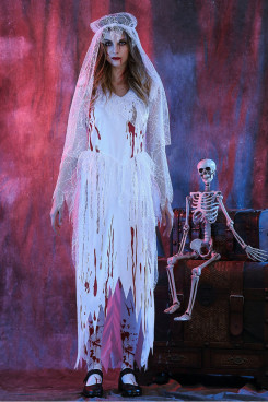 Halloween Purim Scary Blood Corpse Bride Adult Costumes Cosplay Dress For Women zombies Devil free shipping