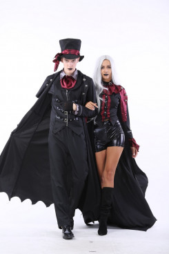 Halloween Vampire Couple Costumes Steampunk Vampiress Uniforms Blood Countess Kits free shipping