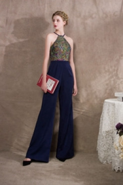 Halter Glamorous Prom dresses Jumpsuits With Colorful Glass Drill so-041