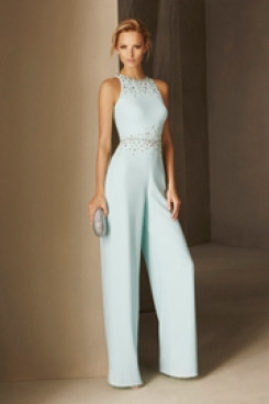 Hand Beaded Prom Jumpsuit Dresses Cocktail pants dressy Aqua 2019 so-171