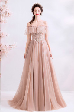 Hand Beading Empire Prom Dresses Brush Train Pearl Pink Evening Dresses TSJY-128