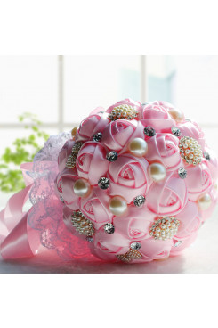 Hand Beading pink wedding bouquets for bride and bridesmaids with Crystal