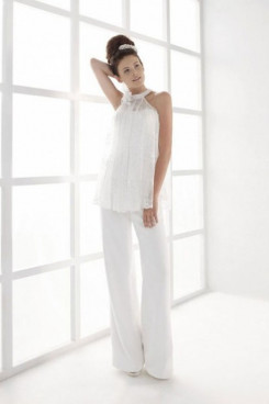 Hot Sale White two-piece bride pants suits so-211