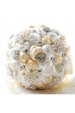 Ivory and Champagne Home Garden Wedding Party holding flowers with pearls