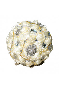 Ivory Artificial Flowers Rose for Bride Bouquet with Crystal and preals
