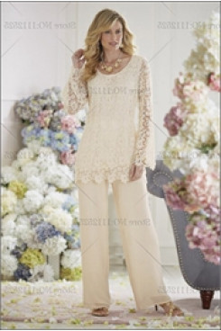 Ivory Lace mother of the bride dresses pants suit mps-221