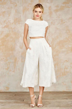 Ivory lace wedding pantsuits culottes and capped mps-013