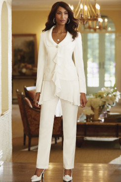 mpsIvory modern Ruffles Spring Women's pant suits mps-164