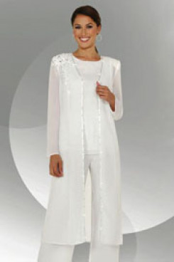 Ivory Three Piece mother of the bride pants mps-206