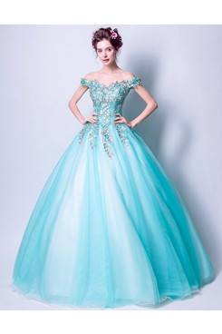 Jade Blue Ball Gown Weding Dresses Off the Shoulder Quinceanera Dresses TSJY-183