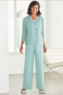 Jade Blue lace Elegant Mother of the bride pant suits with Lace jacket  Elastic waist Trousers outfit Aqua mps-094