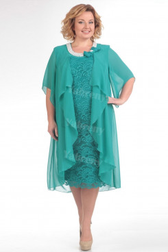 Jade Green Plus Size Mother Of The Bride Dress Mid-Calf Women's Dresses mps-448-4
