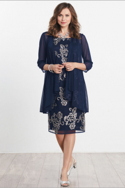Knee-Length Embroidery Mother of the bride dresses with chiffon coat mps-161