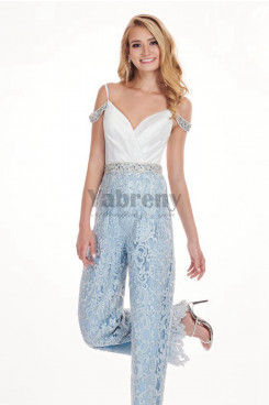 Lace Cocktail Jumpsuits dresses Beaded belt Sky blue so-190
