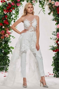 Lace beide Wedding Jumpsuit dresses With Train so-120