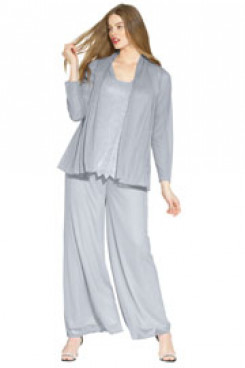 larger size silver Grey delicate beaded mother of the bride pant suits for Spring Wedding mps-144