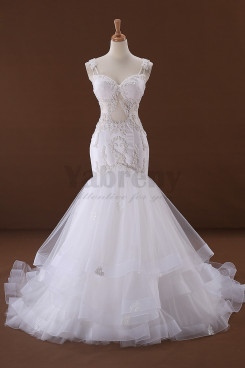 Latest Fashion Charming Summer Spaghetti Trumpet Wedding dresses with Appliques