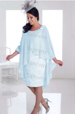 Light Blue Aqua Chiffon Knee-Length Mother of the bride dress mps-323
