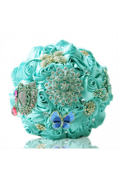 Light Blue Artificial Flowers Rose for Bridesmaids Bouquet with butterfly