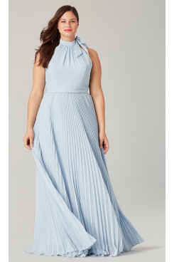 Plus size Light Blue Bridesmaids Dresses Accordion Pleats so-275