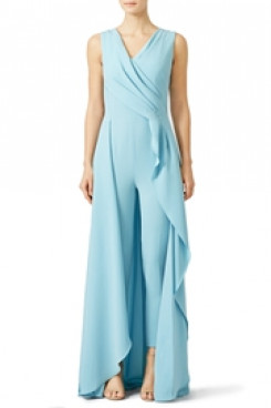 light blue chiffon Bridal jumpsuits beach wedding party so-172