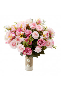 Light pink and Dark pink wedding bouquets for bride and bridesmaids