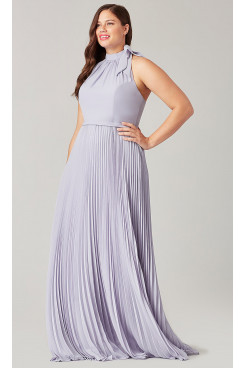 Lilac Halter Bridesmaids Dresses With Accordion Pleats so-270