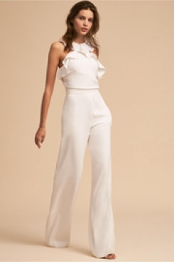 Little White Dresses Bridal Jumpsuits  Ruffles Beach Wedding dress so-121
