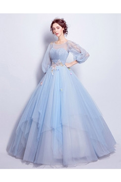 Long Sleeves Sky Blue Ball Gown Weding Dress Jewel Quinceanera Dresses TSJY-182