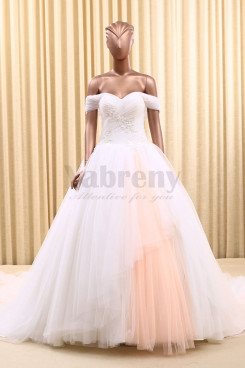 Lovely Off the Shoulder Tulle Tailed New Arrival Bridal dresses wd-028