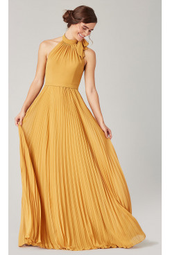 Marigold Golden Bridesmaids Chiffon Dresses With Accordion Pleats so-280