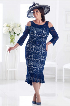 Mermaid Dark Navy Lace Mother of the bride dress Plus size dresses mps-349