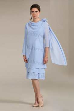 Mid-Calf Mother of the bride dresses Sky Blue Chiffon dresses mps-336