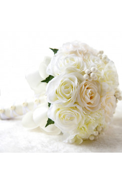 Milk White and champagene color Wedding Party holding flowers for Home Garden sping wedding