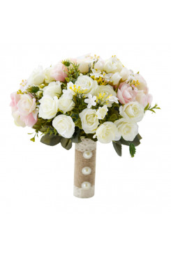 Milk white and light Pink flowers wedding bouquets for bride and bridesmaids with green leaves