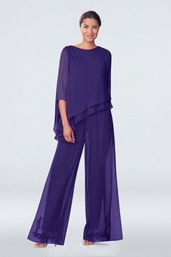 Modern Asymmetry Grape Chiffon Embroidery Loose Mother Of the bride Pants Suits mps-284-2