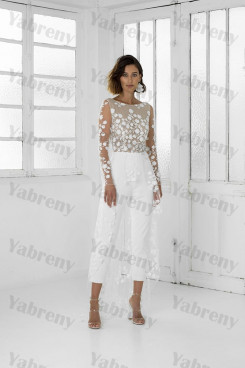 Modern Long Sleeves Lace Wedding Dress Mid-Calf Bride Jumpsuits so-246