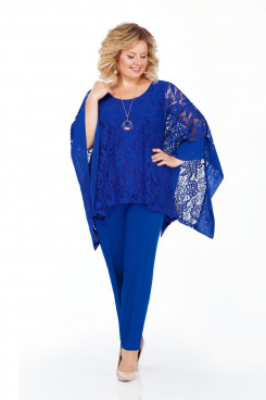 Modern 3PC Mother of the Bride Pant suits With Royal blue Cape Plus Size mps-425-2