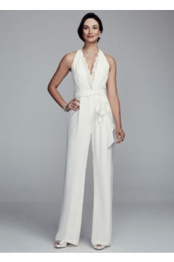 Hot sale Ivory Wedding pant suits Halter lace women's jumpsuits
