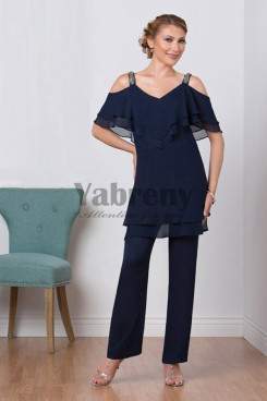 Mother of the bridal pant suits Chiffon Dark Navy mother of the grooem pants suit mps-065